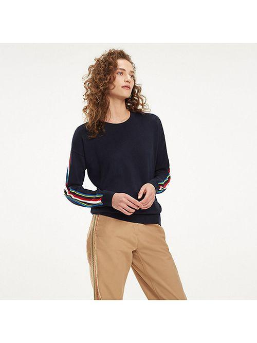 Sweater-de-algodon-organico-con-cinta-multicolor-Tommy-Hilfiger